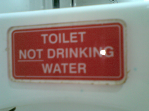 Toilet NOT drinking water