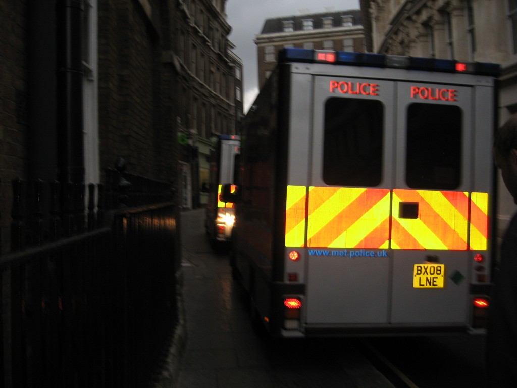 Empty riot vans