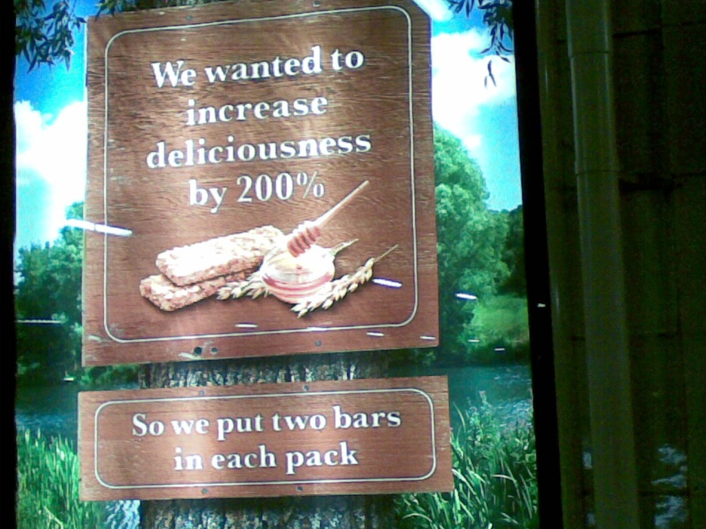"""We wanted to increase delicious by 200%... so we put two bars in each pack"""