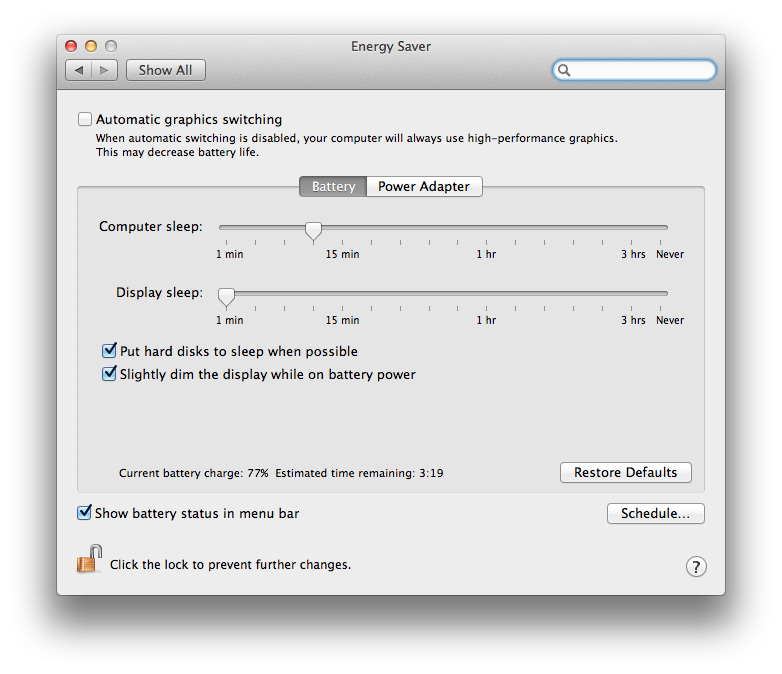 Mac OS 10.8 Energy Saving preference pane