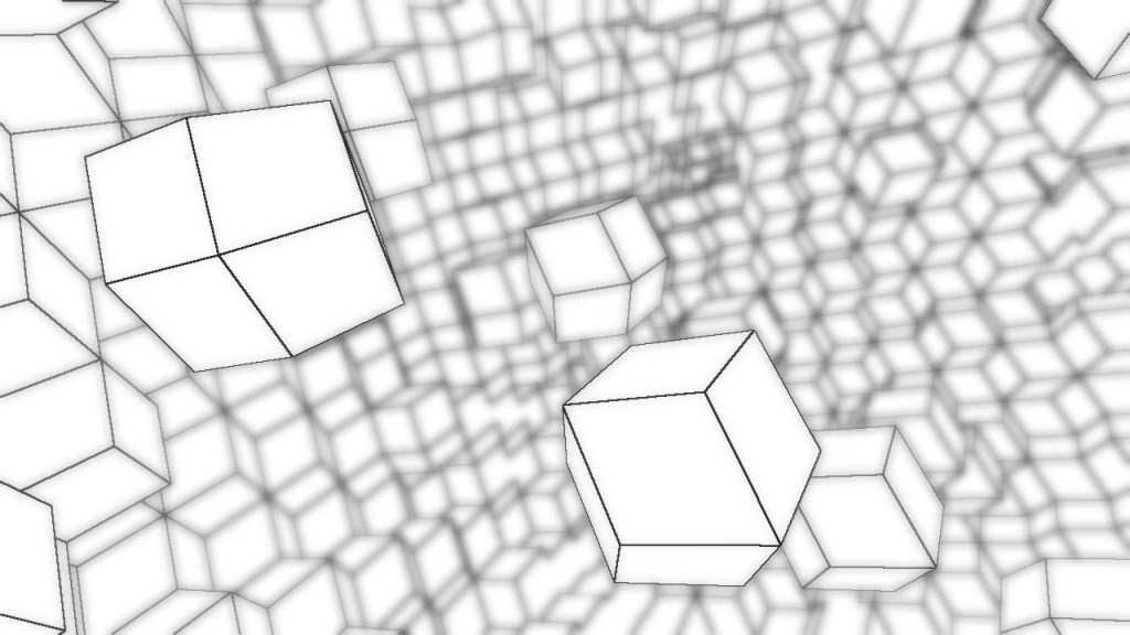 Floating cubes recede into the distance, losing their definition.