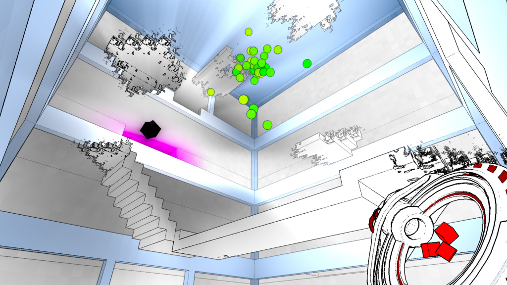 White shapes dissolve and condense in the air above as green spheres vibrate.