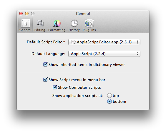AppleScript Editor Preferences
