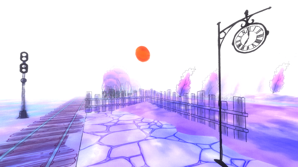 A screenshot from the game.  It looks as it it's painted in orange and purple watercolours over black ink. It shows a paved courtyard next to some railway tracks, with a station clock.