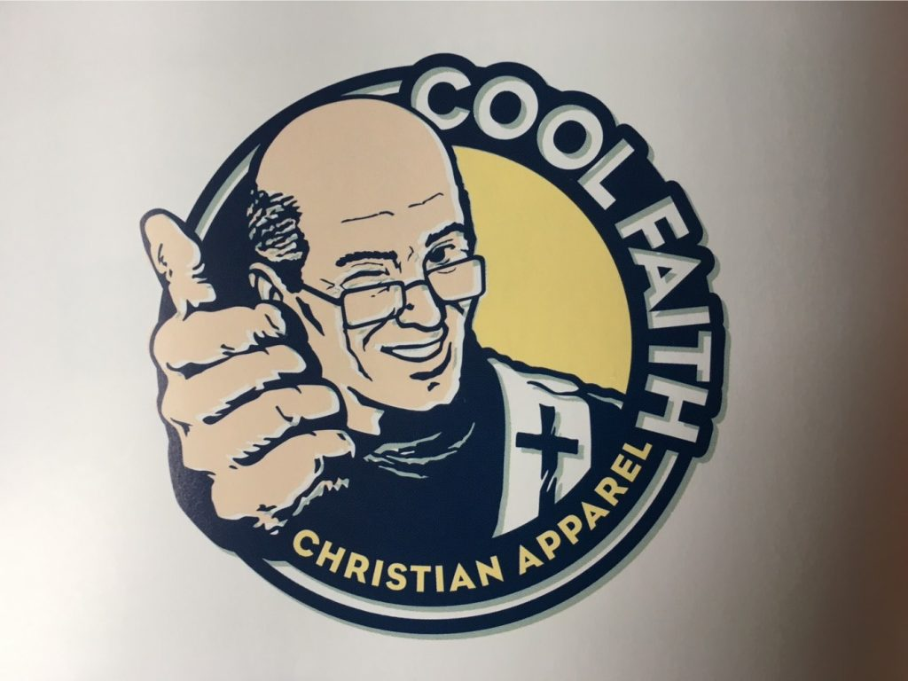 "A 2000s-era logo with a winking, balding pastor with reading glasses giving the thumbs up. The name is ""Cool Faith: Christian Apparel"""