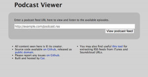 A screenshot of the page you see when you visit http://podviewer.cai.zone/