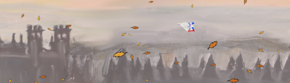 Screenshot: Glitch pigeon in a painted autumn sky.